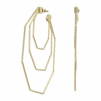 Rebecca Minkoff Hexagon Triple Hoop Earrings