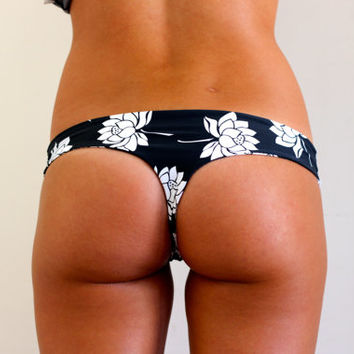 Lotus Flower Black & White Bikini Bottoms