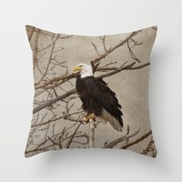 Proud Eagle Throw Pillow by Daphsam