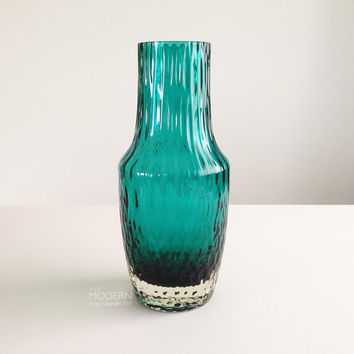 Vintage Blue Green Textured Cased Art Glass Vase Czech Style