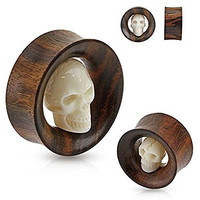 Carved Skull Inside Organic Sono Wood Saddle Fit Tunnel Plug 3/4