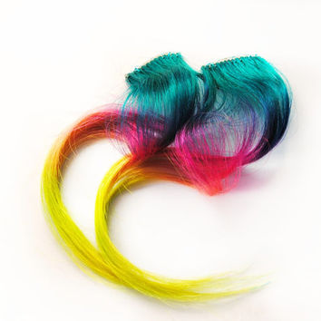 Spring Human Hair Extension, Easter hair, teal, purple, pink, peach, green, yellow clip in hair, Tie Dye Colored Hair - Rainbow Pony