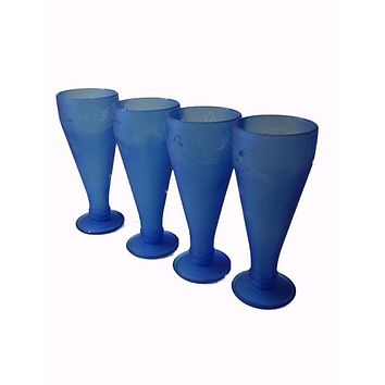 Recycled Restaurant Bottles - Frosted Blue Glasses
