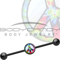 Mother of Pearl Tie Die Peace Sign Industrial Barbell | Body Candy Body Jewelry