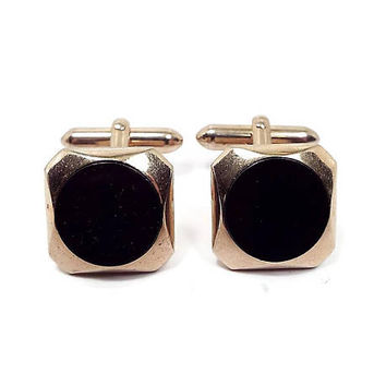 Black Vintage Cufflinks Swank Gold Tone Angled Back Geometric Mid Century Mens Formal Accessories