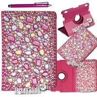 BLING!!! Pink Ipad Mini Multi Color w/3D HUGE Gems, Crystal & Rhinestone Leather Folio Jersey Bling® Case