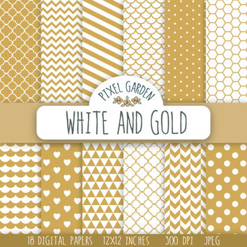 White and Gold Digital Paper Pack, Quatrefoil Scrapbooking Paper, Polka Dot Digital Clip Art, Chevron Printable Paper. Honeycomb Pattern.