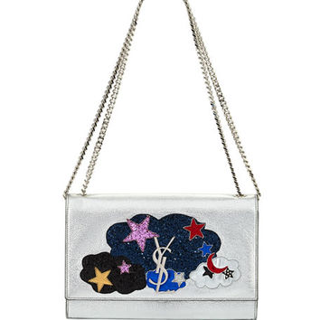 Saint Laurent Kate Monogram Medium Cloud Chain Shoulder Bag, Silver/Multi
