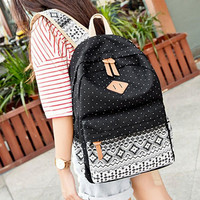 Women's Black Polka Dots Backpack for College Bookbag for Teen Girls School Bag