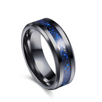 Black 316L Stainless steel Ring for Wedding Band blue Carbon Fiber Ring des Nibelungen Dragon rings for men