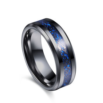Romantic 8mm Stainless Steel Party Wedding Bands For Men Jz089