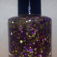 Purple Rain - Purple And Gold Handmade Glitter Nail Polish