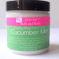Cooling Cucumber Mint Foot Lotion by ZEN-ful, Hand Lotion, Shea Butter Body Lotion, Paraben Free Lotion, Gift Ideas, Skin Care, Lotion 4 oz