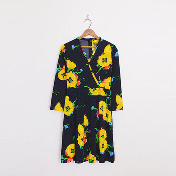 Yellow Poppy Print Dress Black Floral Dress Floral Print Faux Wrap Dress Mini Dress Black Dress 70s Dress 70s Hippie Dress S Small M Medium