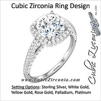 Cubic Zirconia Engagement Ring- The Brittany Sue (0.5-2.0 Carat Round Halo-Styled with Cascading Pave Band)