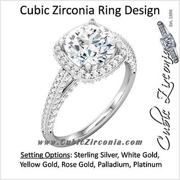 Cubic Zirconia Engagement Ring- The Brittany (0.5-2.0 Carat Round Halo-Styled with Cascading Pave Band)