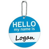 Logan Hello My Name Is Round ID Card Luggage Tag
