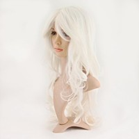 HealthTop Avant Garde Cosplay Costume Super Long White Curly Hair Wig Ladies Synthetic Replacement Wigs Hairpieces