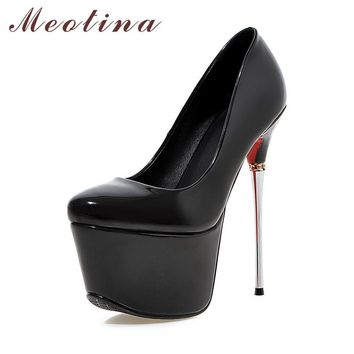 Meotina Plus Size 9 10 Shoes Women Sexy High Heels Platform Extreme High Heels Ladies Shoes Club Party Shoes Wedding Pumps Gold