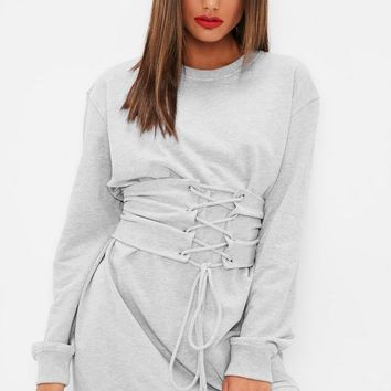 Missguided - Gray Corset Sweater Dress