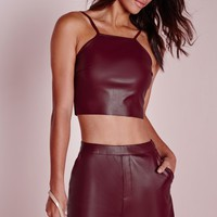 Missguided - Faux Leather Crop Top Burgundy