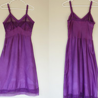1950's purple slip, 50's lingerie, long negligee w/ violet plum lace, cotton sateen slip with adjustable straps, Small to medium, US 6 to 8