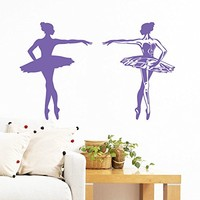 Wall Decal Vinyl Sticker Decals Art Home Decor Murals Decal Ballerina Acrobatics Girl Ballet Dancer Gymnastics Sport Jump Bedroom Dance Studio Kids Children Gift Nursery Dorm Bedroom AN203