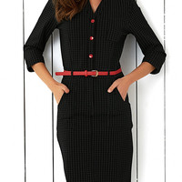 Button Design Tie Belt Plaid Dress