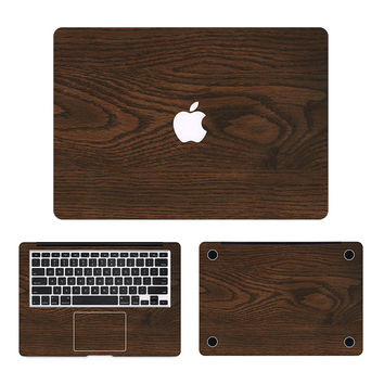 Cool Oak Wood Grain Laptop Decal 3 in1 Set for Apple MacBook Sticker Air/Pro/Retina 11 12 13 15 Full Body Protective Cover Skin