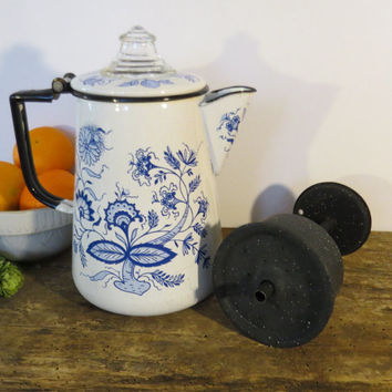 Vintage Mid-Century Enamel Coffee Pot Cobalt Blue and White With Original Basket