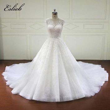Backless Sweet Heart A Line Chapel Tail Wedding Dress Flower Exquisite Appliques Lace Bodice Cap Sleeves High-end Bridal Gown