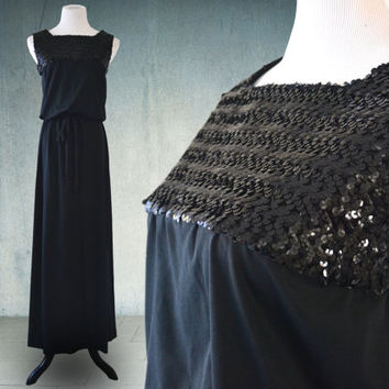1970s Black Cocktail Dress Maxi Dress Sequined Disco