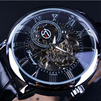 Casual Black Leather Strap Hollow Automatic Mechanical Watch Woman Men