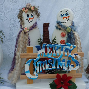 Mom & Pop Snowmen, Grandparent family, Victorian Christmas, Snowman lover gift,  Holiday gift, Housewarming, Thank you or Friendship gift