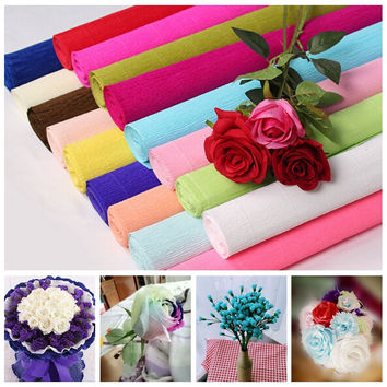 250x50cm 1 Roll DIY Flower Making Crepe Papers Wrapping Flowers Packing Material Handmade Diy Wrapping Paper Craft Decor XHH8133