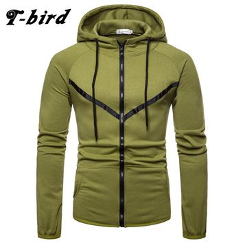 T-Bird Hoodies Men 2018 Autumn Winter Fashion Sweatshirt Hip Hop Men'S Hoodie Zipper Cardigan Brand Tracksuit moletom masculino