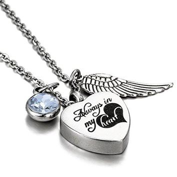 "SHIP BY USPS: HooAMI Cremation Jewelry ""Always in my heart"" Memorial Urn Necklace Ashes Keepsake Pendant"