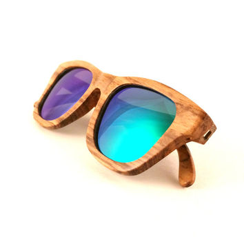 Zebra Wood Sunglasses Polarized Lenses - Flourish Green | Handmade Wayfarer Wood Sunglasses from Thrive Shades