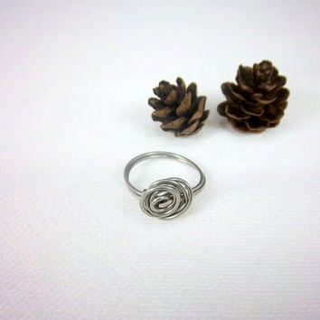 Knot Ring Stainless Steel Ring Wire Ring Silver Ring Knotty Ring Nest Ring Wire Wrapped Ring Gypsy Boho Bohemian Jewelry