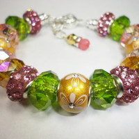 Citrus Sparkle Charm Bracelet In Gold, Pink, and Green, With Rhodonite Charm