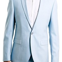 Men's Topman Light Blue Skinny Fit Suit Jacket,