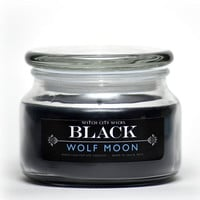 BLACK candle, Wolf Moon musk scented soy candle in 10 oz. apothecary jar: