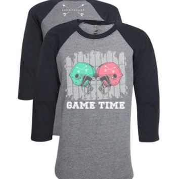 Southern Couture Lightheart Game Time Football Triblend Front Print Raglan Long Sleeve T-Shirt