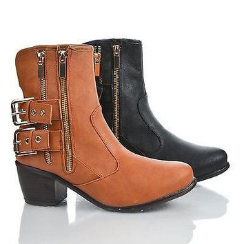 Saint By Dollhouse, Round Toe Western strap Buckle Zip Up Ankle Riding Booties