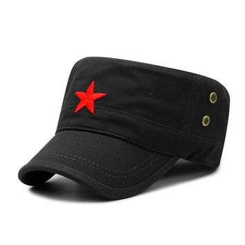 Sports Hat Cap trendy  Fashion Red Star Men Cap Embroidered Flat Hats Army Cap Outdoor Sun Casual Sports Tactical Caps German Cadet Military Caps KO_16_1