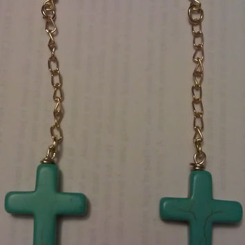 Turquoise Stone Cross Earrings with Dangle by allthingswildandfree