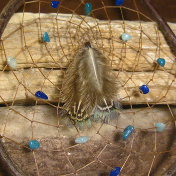 Natural Dream Catcher Native American Shades of Blue Hand Woven Handmade Gifts from The Hidden Meadow