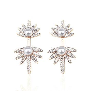 front and rear double ear studs cuffs perforated crystal geometric earrings punk style products