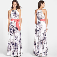 White Floral Print Halter-Neck Chiffon Maxi Dress