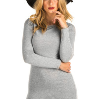 Leah Plain Long Sleeve Bodycon Dress in Grey